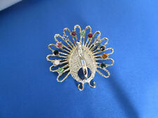 Gold Tone Peacock Pin Brooch Multi Colored Crystal Tip Fanned Feathers