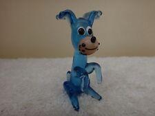 Vintage Miniature Pirelli Blue Glass Dog Murano Bimini Glass Dog c1950s