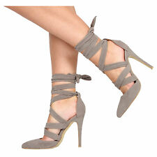 WOMENS LADIES TIE LACE UP ANKLE HIGH HEELS PARTY COURT SANDAL SHOES SIZE 3-8