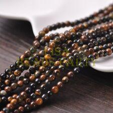 100pcs 4mm Round Natural Stone Loose Gemstone Beads Brown Tiger-eye