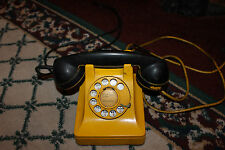 Antique Bell System Rotary Telephone-Black & Yellow Mustard Color-RARE