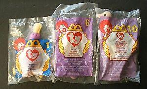 TY McDonalds Mini Beanie Babies   Sealed  Patti-1996, Happy-'98, Stretchy-'99