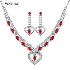Heart Jewelry Set Crystal Wedding Necklace and Earring Set Copper Metal Vs-088