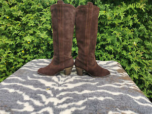 Brown Suede Leather knee high boots UK size 6 EU 39