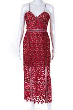 Self Portrait Womens Arabella Spaghetti Strap Lace Layered Dress Dark Red Size 8