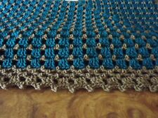 "Handmade NEW Crochet Afghan Teal  & Warm Brown 60""X60"" Box  Throw blanket"