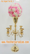30 inches Gold 5 Arm Metal Candelabra Wedding Centerpiece Floral Stand (From GA)
