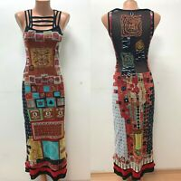 SAVE THE QUEEN size S Multicoloured Dress Cut Out LOGO Floral Embroidered Midi