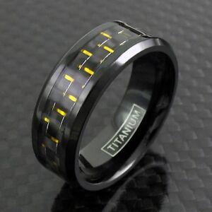 Black Titanium Men's Yellow Carbon Fiber Band Ring Sizes 9-13