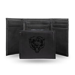 Chicago Bears Black Laser Engraved Synthetic Leather Trifold Wallet NWT