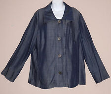 Indigo Dye Blue Denim Look Shirt Jacket-Button Front Shacket-Curve-20