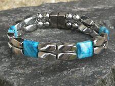 Mens Women Silver Magnetic Hematite Bracelet Anklet Necklace w CRAZY BLUE JASPER
