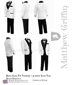 Boys Tuxedo Slim Fit Tuxedo Wedding and Prom Tuxedo Boys Dinner Suit Dickie Bow