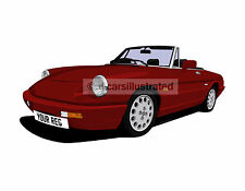 ALFA ROMEO SPIDER CAR ART PRINT. CHOOSE YOUR CAR COLOUR, ADD REG DETAILS!