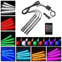 48 LED Car SUV Interior 4 Strip Lights RGB 8 Color Changing Music Decorative UK