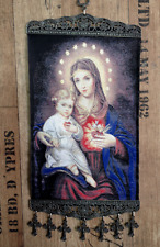SACRED HEART of BABY JESUS, VIRGIN MARY WOVEN TAPESTRY BIG WALL HANGING 20x32 cm