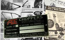 AEE CHOPPERS Data PLATE Frame Chassis Bobber HONDA KAWASAKI HARLEY SUZUKI YAMAHA