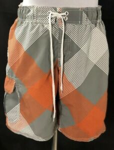Arizona Mens Orange Gray White Plaid Swim Trunks Size L