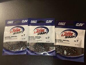 M EAGLE CLAW LAZER SHARP BARREL SWIVEL X 3 PACKS SIZE 7 105 PIECES TOTAL NEW