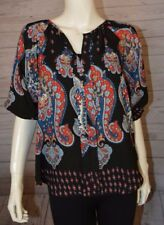 Meraki Size Small Black Red Blue Paisley Blouse Short Sleeve Slit Front Top Shir