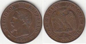 Monnaie Française Napoléon III Tête Nue 5 Centimes 1854 B