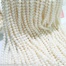 """7-8mm White Freshwater Cultured Pearl Gemstone Loose Roundel Beads Strand 15"""""""