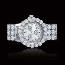 Genuine Diamond Stainless Steel White Gold Custom Flower Watch W/Date Ice House
