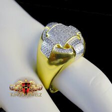 Real Genuine Diamond Big Bold 14k Yellow Gold Finish Men Pinky Ring Band .30 ctw