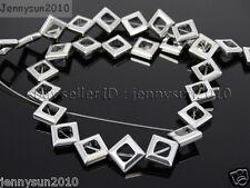 Natural Hematite Gemstone 8mm Diagonal Square Loose Beads Silver 16'' Strand