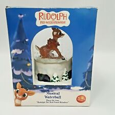 Enesco Rudolph The Red Nosed Reindeer Musical Waterball Snow Globe w Box