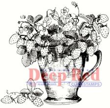 Deep Red Stamps Strawberry Plant Rubber Cling Stamp
