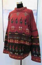 VTG Willis & Geiger Hand Knit Sweater Rust Red Fair Isle Made in Ireland XL