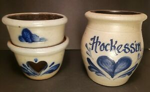 Vintage Lot Rowe Pottery Works Cambridge Wisconsin Heart Decoration Salt Glazed