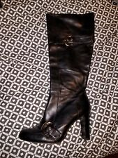 BOUTIQUE 9 WOMENS BLACK LEATHER HEELS BELTED BOOTS SZ 8