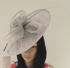 SILVER GREY WEDDING  ASCOT HAT DISC FASCINATOR OCCASION MOTHER OF THE BRIDE