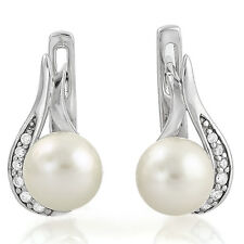 LOVELY 7MM MAN-MADE PEARL & CREATED DIAMOND 925 STERLING SILVER EARRING