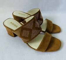 Anne Klein Open Toe Heeled Sandals Shoes Women 8 Embellished Tan Leather Gold