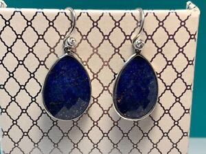 🌸 SILPADA 925 Sterling Silver Blue Faceted Lapis CZ Dangle Earrings (39) 🌸