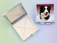 Border Collie Dog 4 Compartment Square Metal Pill Box by paws2print