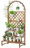 WOODEN SHELF PLANT STAND LADDER CREATIVE STORAGE ELEGANT DECORATION MULTI USE