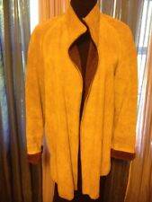 Wilsons Suede & Leather Caramel Suede Jacket Open Front Lined Sz 10