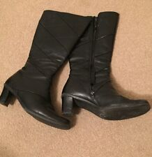 Women's Geometric 100% Leather Mid-Calf Boots