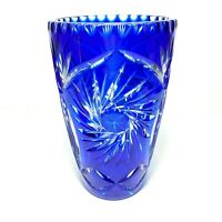 "VTG Bohemian Crystal Cobalt Blue Vase Art Glass Cut To Clear Czech 8 3/4"" Tall"