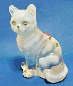 """Fenton White Opalescent Sitting Kitty Cat Hand Painted Strawberry & Flower 3.5"""""""