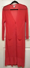 Joan Vass Pink Coral Long Cardigan Sweater Plus Size 1,  Long Sleeves,  Pockets