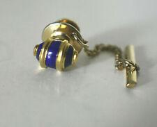 Estate 14K Yellow Gold Detailed Brilliant Blue Enamel Oval Tie Pin Tack w. Box