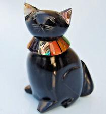 figurine chat noir en verre taillé 7,5 cm - décoration de vitrine
