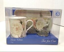 Tea Mug Gift Set 4 Piece Bone China  Pink Floral Tea Ball Teabag Holder Tray F6