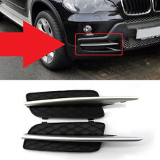 2pcs Front Side Bumper Lower Grille Cover with Silver Trim For 07-09 BMW X5 E70