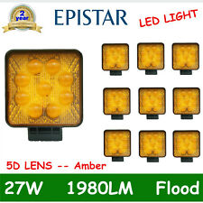 10X 27W Square LED Work Light Truck Offroad 4X4 Amber Signal Lamp 1980LM 5D LENS